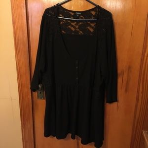 TORRID black babydoll top with lace, 5X.